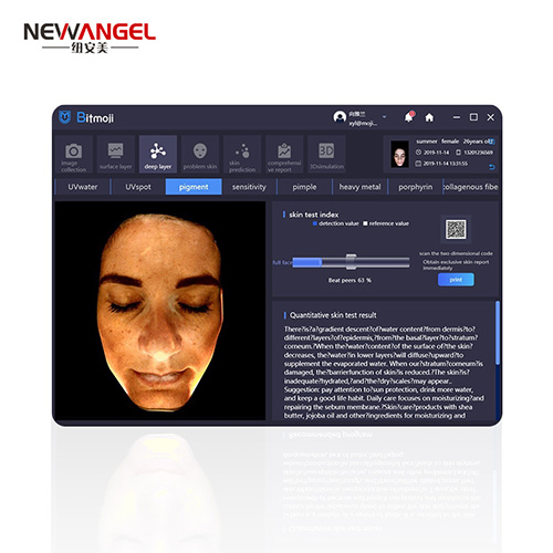 Facial skin analyzer for salon and spa use