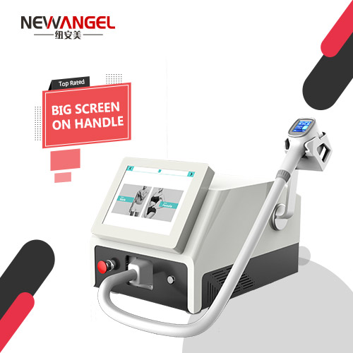 Laser hair removal salon machine with screen on handle